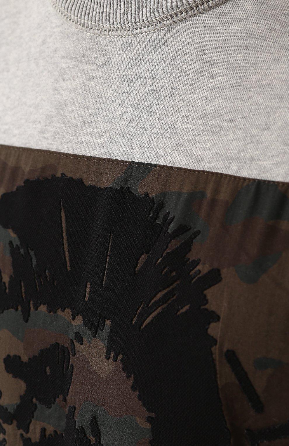 Хлопковый свитшот с контрастной отделкой Diesel серый | Фото №5