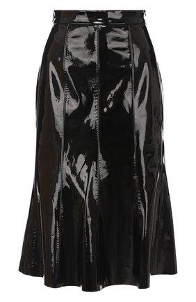Кожаная расклешенная юбка-миди | Фото №1