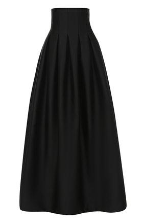 Юбка-макси с завышенной талией и защипами Rubin Singer черная | Фото №1