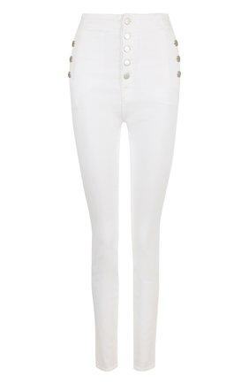 Однотонные джинсы-скинни с завышенной талией | Фото №1
