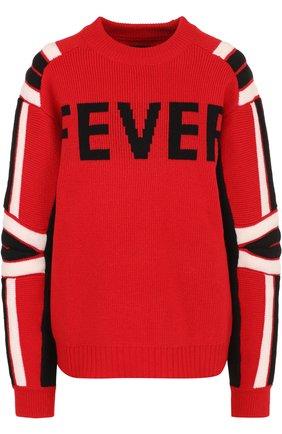 Шерстяной пуловер свободного кроя с круглым вырезом Zadig&Voltaire красный | Фото №1