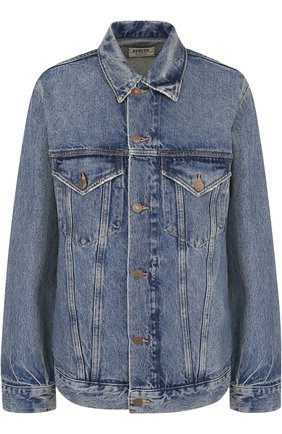 Джинсовая куртка свободного кроя с потертостями Agolde синяя | Фото №1