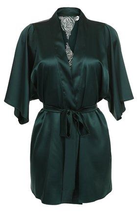 Шелковый мини-халат с поясом Fleur of England зеленый   Фото №1