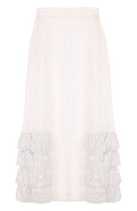 Кружевная юбка-миди с оборками | Фото №1