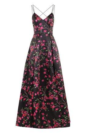 Приталенное платье-макси с открытой спиной и цветочным принтом | Фото №1