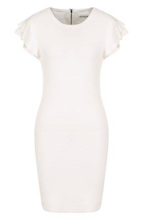 Приталенное мини-платье с оборками Alice + Olivia молочное   Фото №1