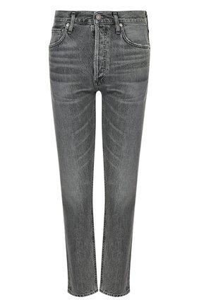 Укороченные джинсы прямого кроя с потертостями Agolde серые | Фото №1