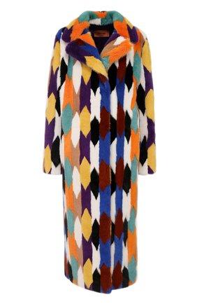 Удлиненная шуба из меха норки Missoni разноцветная | Фото №1
