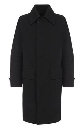 Пальто свободного кроя из смеси шерсти и хлопка Ann Demeulemeester черная | Фото №1