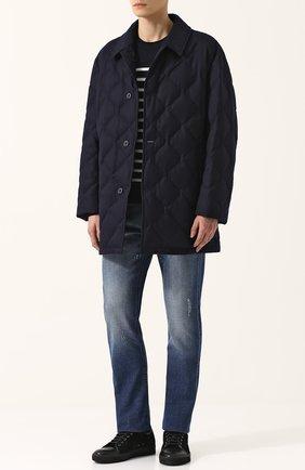 Шерстяной пуховик на пуговицах с отложным воротником Mackintosh темно-синяя | Фото №1