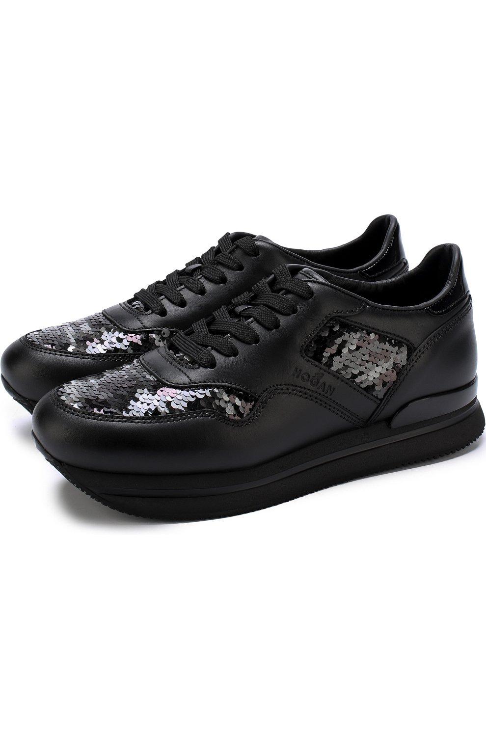 Кожаные кроссовки с вышивкой пайетками | Фото №1