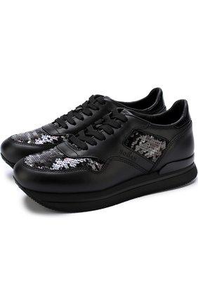 Кожаные кроссовки с вышивкой пайетками Hogan черные | Фото №1