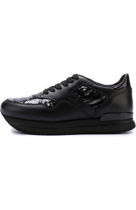 Кожаные кроссовки с вышивкой пайетками Hogan черные | Фото №3