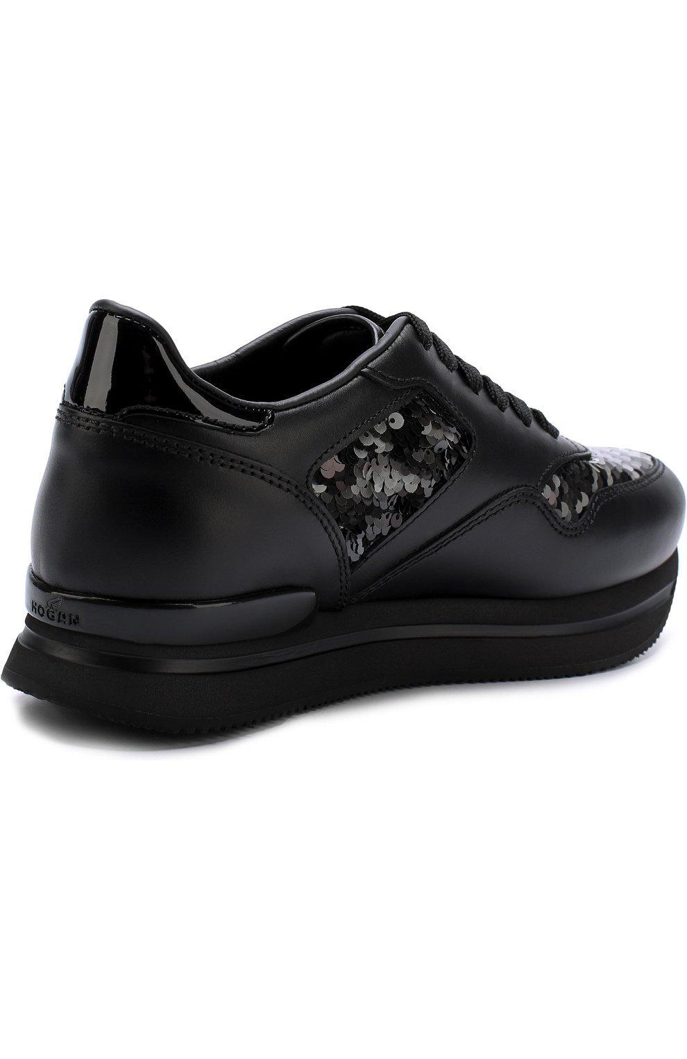 Кожаные кроссовки с вышивкой пайетками Hogan черные | Фото №4