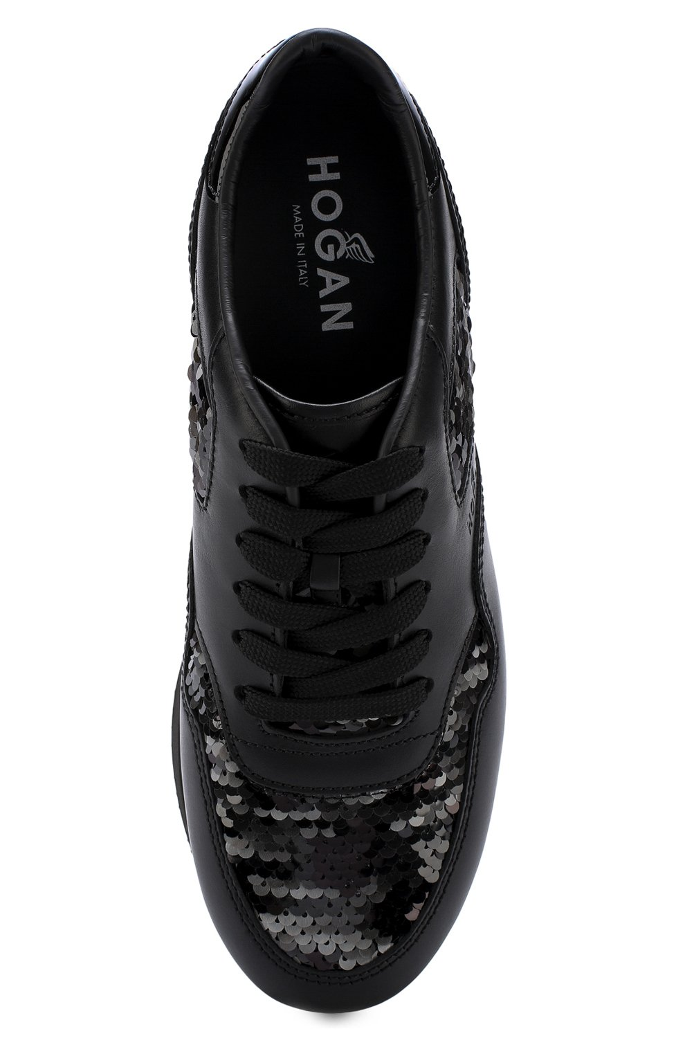 Кожаные кроссовки с вышивкой пайетками Hogan черные | Фото №5