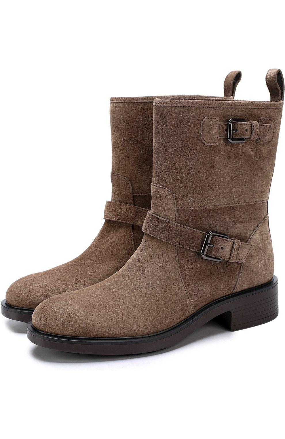Замшевые ботинки с ремешками | Фото №1
