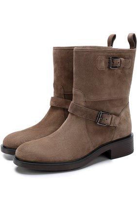 Замшевые ботинки с ремешками Hogan коричневые | Фото №1