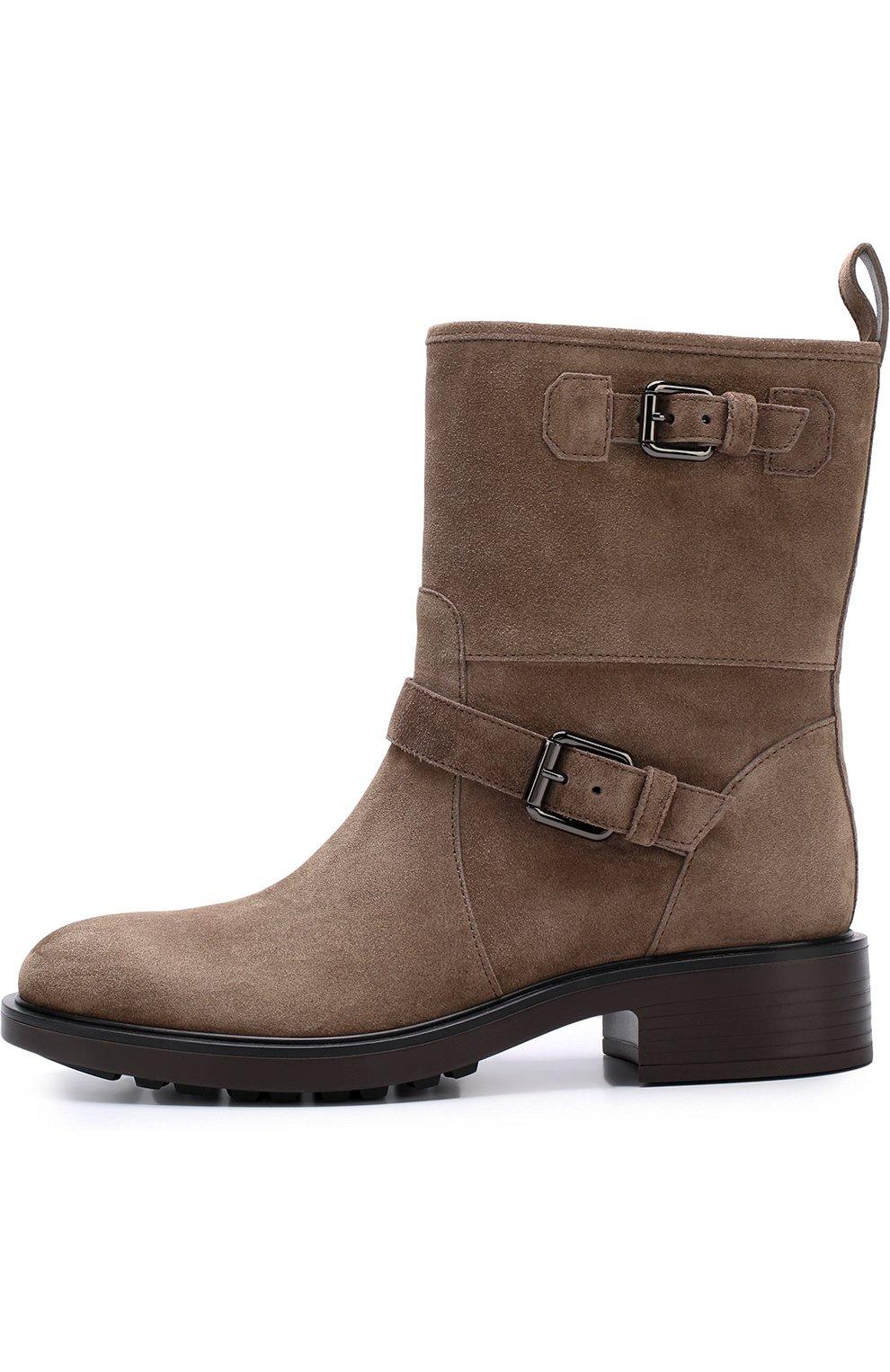 Замшевые ботинки с ремешками Hogan коричневые | Фото №3