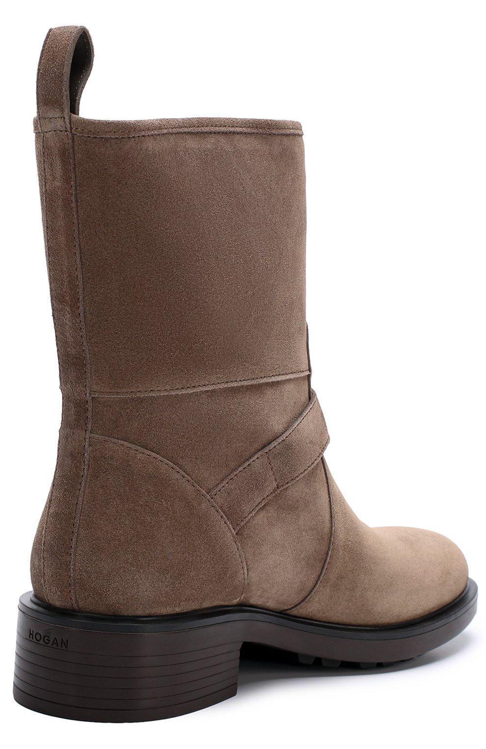 Замшевые ботинки с ремешками Hogan коричневые | Фото №4