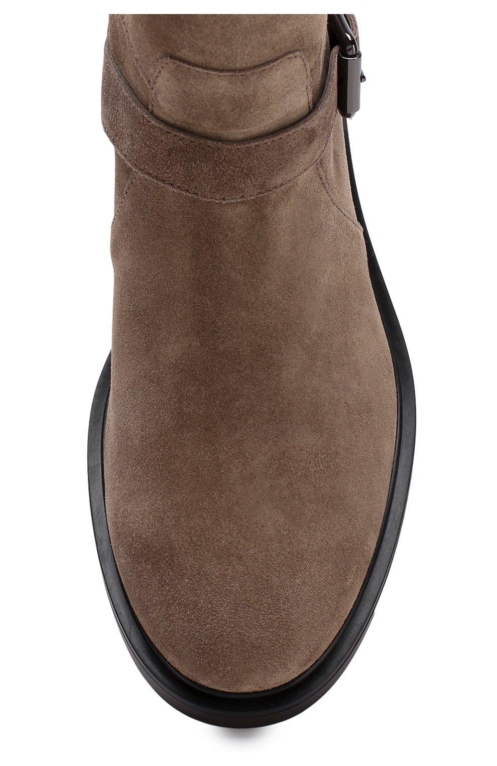 Замшевые ботинки с ремешками Hogan коричневые | Фото №5