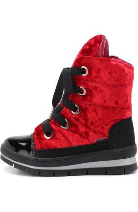 Детские ботинки с текстильной отделкой на шнуровке Jog Dog красного цвета | Фото №1