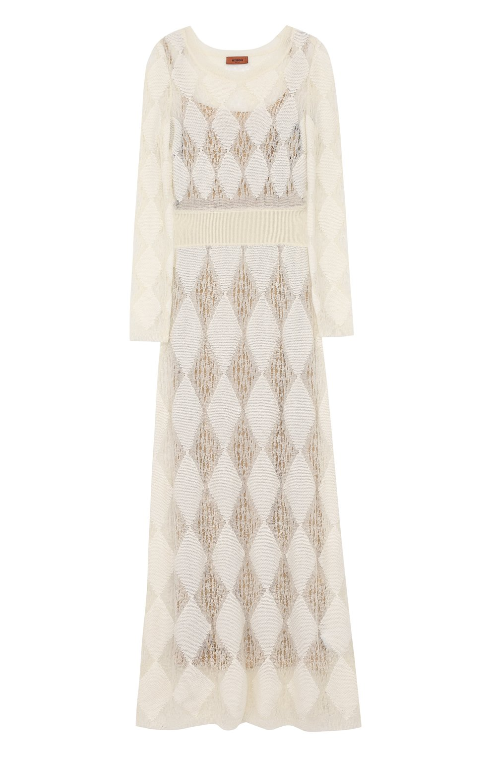 Приталенное вязаное платье-макси с длинным рукавом | Фото №1