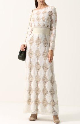 Приталенное вязаное платье-макси с длинным рукавом | Фото №2