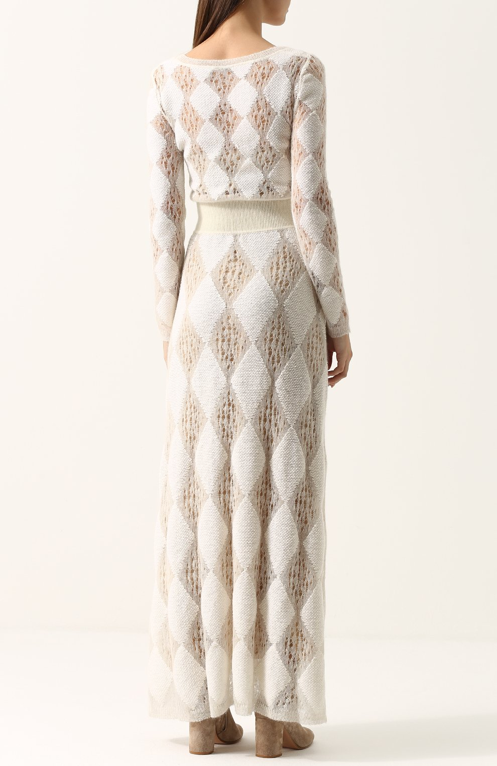 Приталенное вязаное платье-макси с длинным рукавом | Фото №4