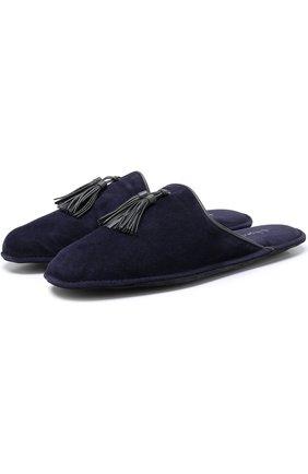 Замшевые домашние туфли без задника Homers At Home темно-синяя | Фото №1