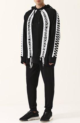 Хлопковое худи свободного кроя с отделкой Ktz черно-белый | Фото №1