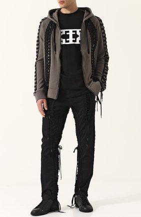 Хлопковые брюки прямого кроя с отделкой Ktz черные | Фото №1
