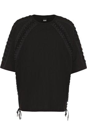 Хлопковая футболка свободного кроя с отделкой Ktz черная | Фото №1