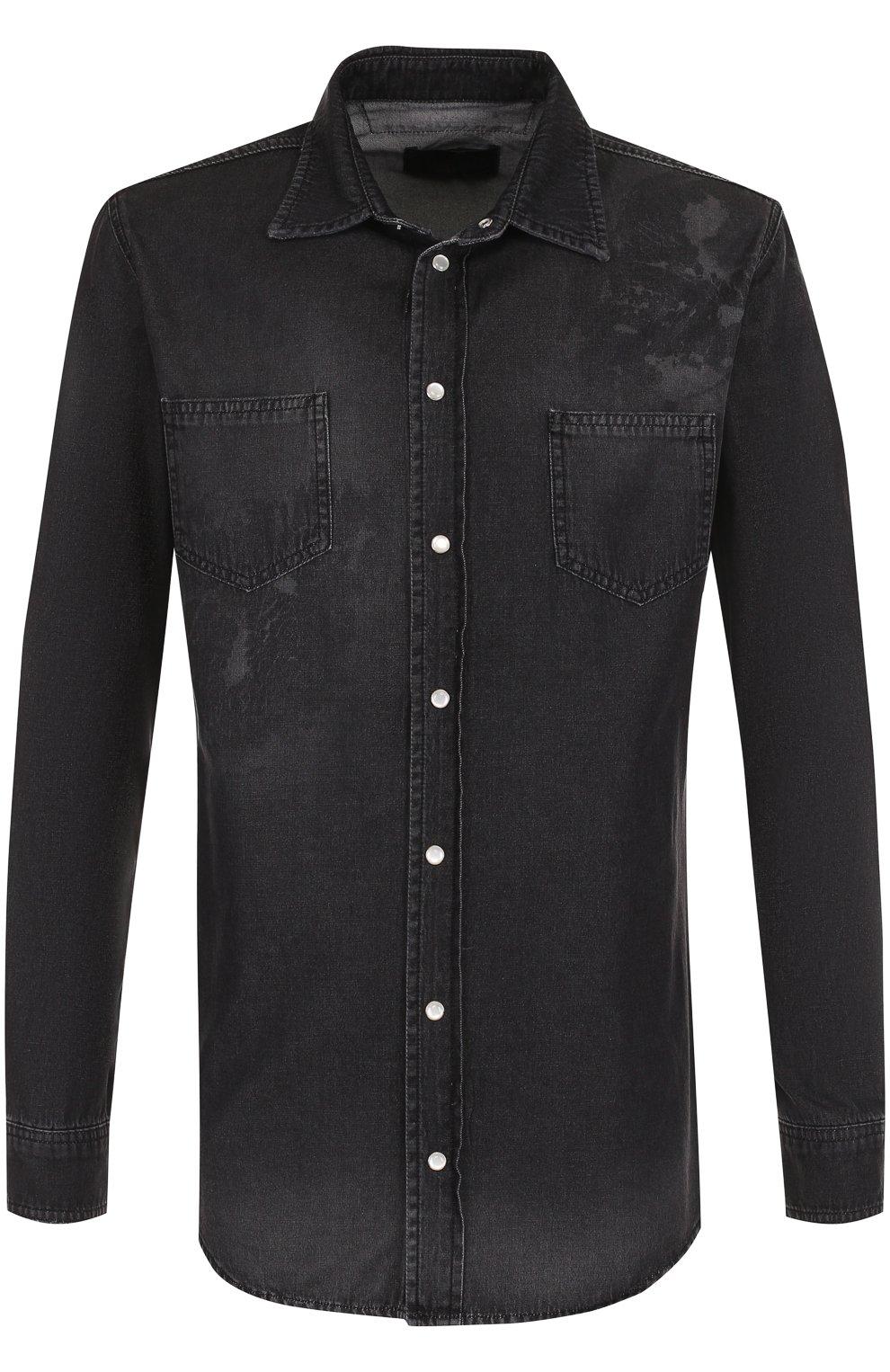 5673949f694 Мужская темно-серая джинсовая рубашка на кнопках с принтом PHILIPP ...