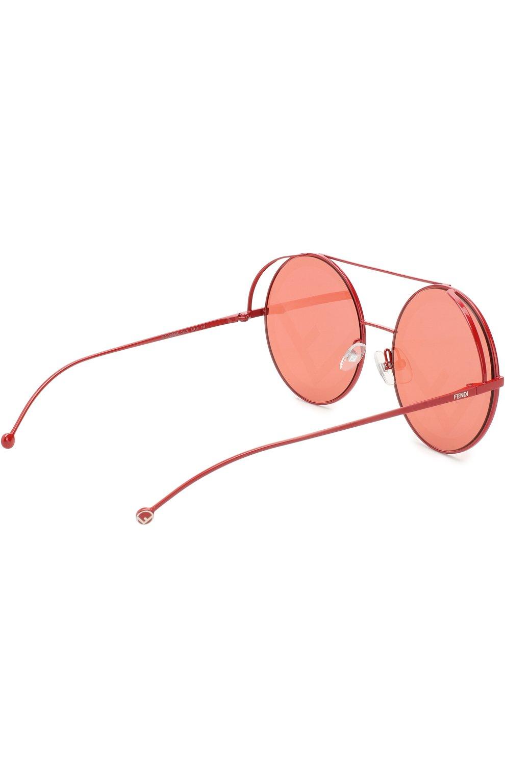 Женские солнцезащитные очки FENDI красного цвета, арт. 0285 C9A | Фото 3