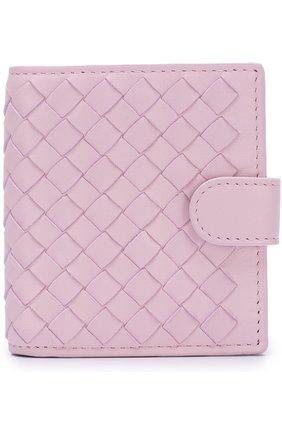 Кожаный кошелек с плетением intrecciato на кнопке   Фото №1