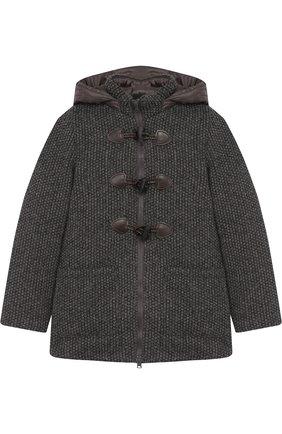 Текстильный дафлкот со стеганым капюшоном   Фото №1