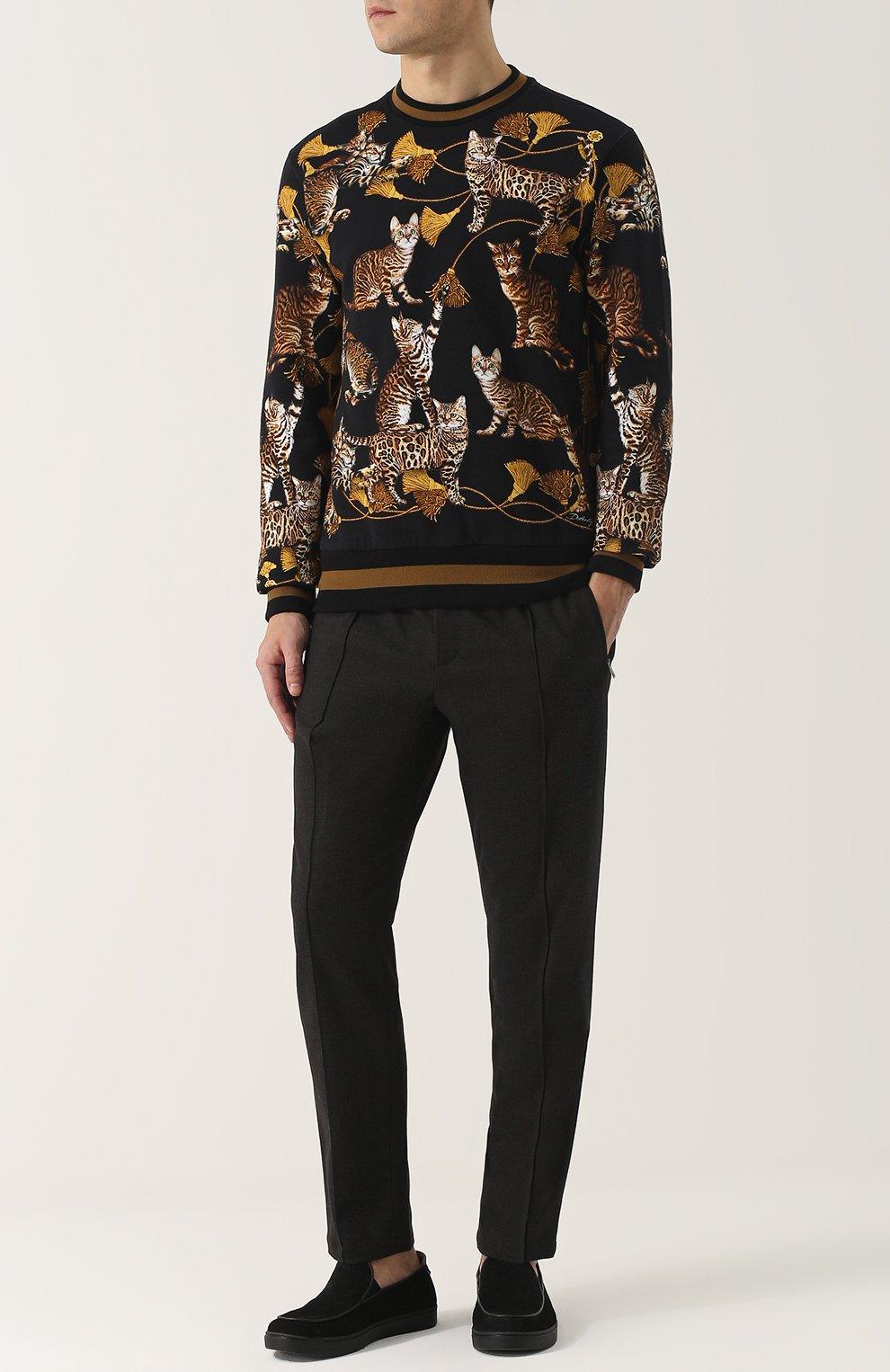 Брюки из смеси шерсти и хлопка с поясом на резинке Dolce & Gabbana серые | Фото №2