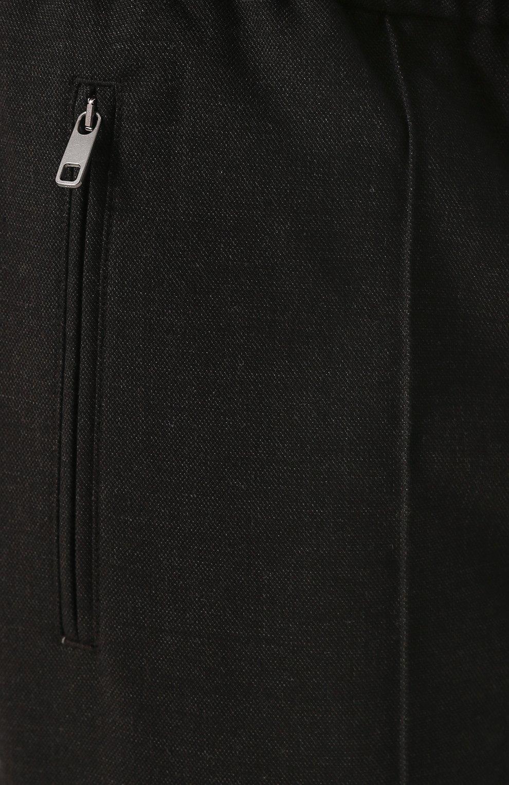 Брюки из смеси шерсти и хлопка с поясом на резинке Dolce & Gabbana серые | Фото №5