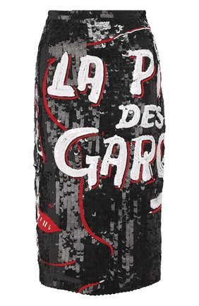 Хлопковая юбка-карандаш с пайетками Olympia Le-Tan черная   Фото №1