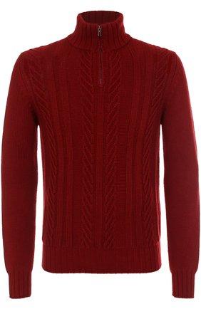 Кашемировый свитер фактурной вязки с воротником на молнии | Фото №1