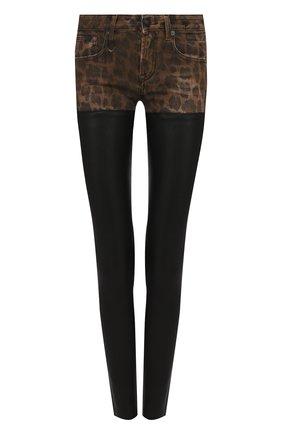 Кожаные брюки-скинни с леопардовой вставкой R13 черные   Фото №1