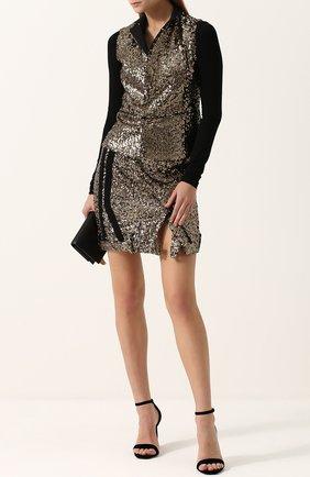 Мини-юбка с разрезом и пайетками A.F.Vandevorst золотая | Фото №1
