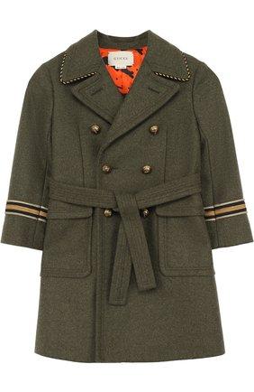 Детское шерстяное двубортное пальто с аппликациями и поясом GUCCI зеленого цвета, арт. 474914/XBB26   Фото 1