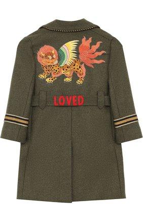 Детское шерстяное двубортное пальто с аппликациями и поясом GUCCI зеленого цвета, арт. 474914/XBB26   Фото 2