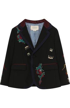 Пиджак на двух пуговицах с контрастной вышивкой | Фото №1