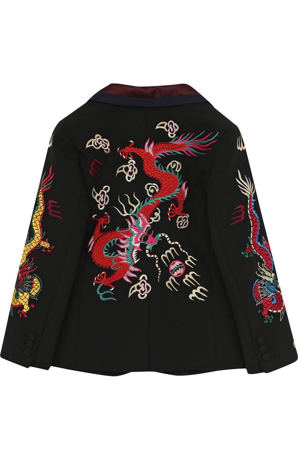 Пиджак на двух пуговицах с контрастной вышивкой | Фото №2