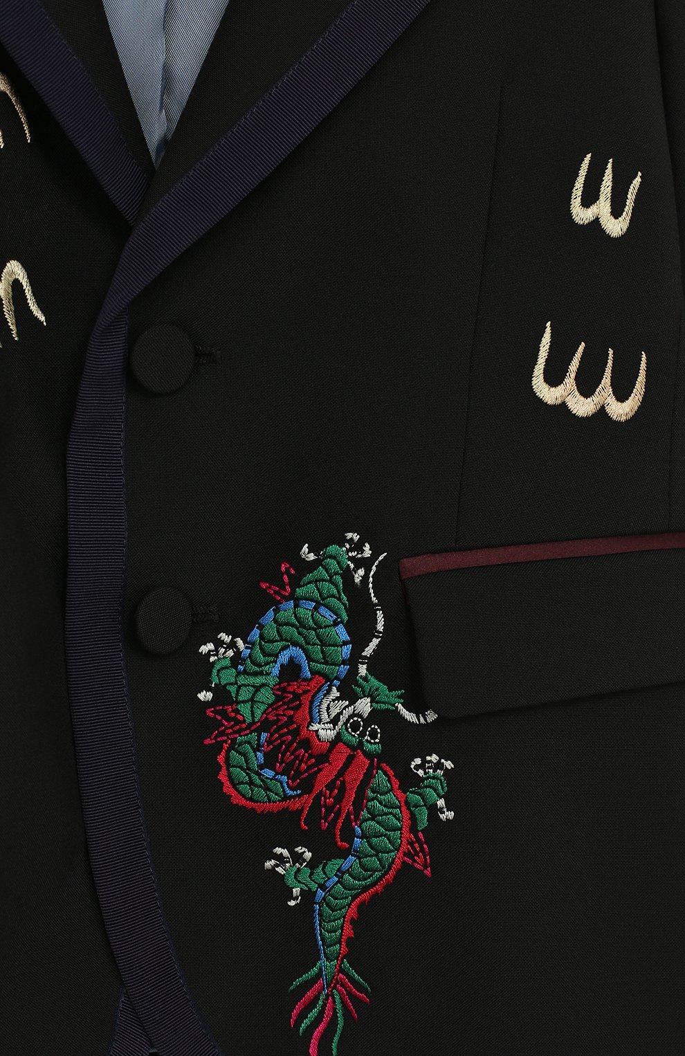 Пиджак на двух пуговицах с контрастной вышивкой | Фото №3