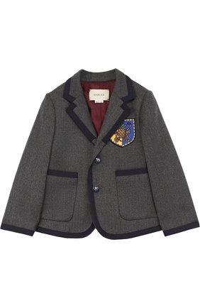 Пиджак из шерсти и кашемира с контрастной отделкой и нашивкой | Фото №1