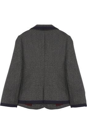 Пиджак из шерсти и кашемира с контрастной отделкой и нашивкой | Фото №2