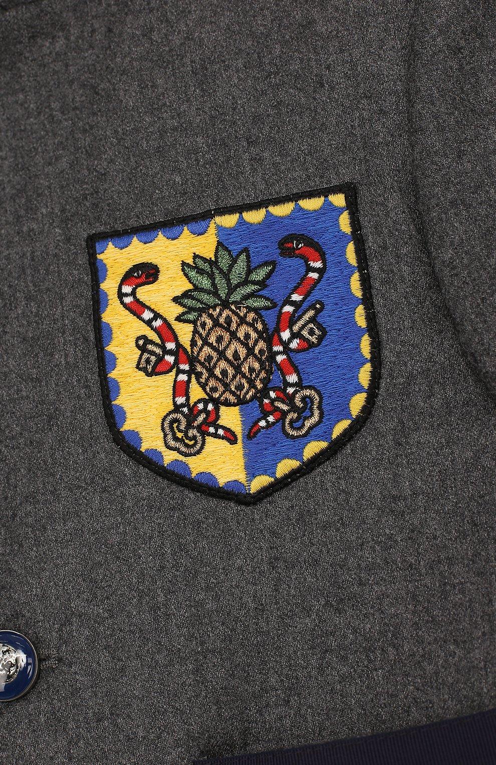 Пиджак из шерсти и кашемира с контрастной отделкой и нашивкой | Фото №3